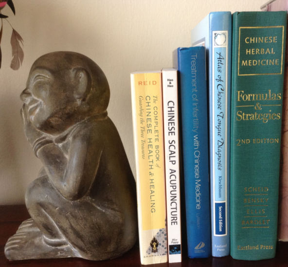 Statue and books on shelf